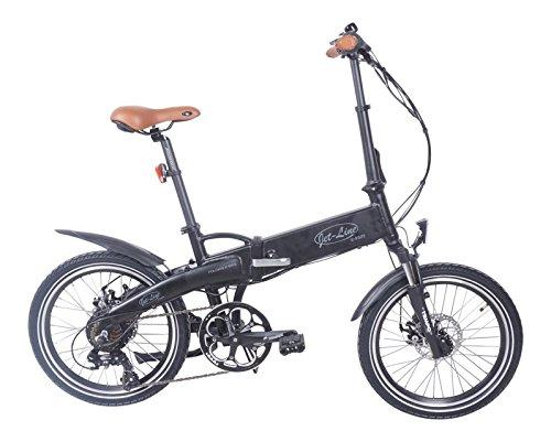 Jet-Line Klapprad E-Bike Pedelek im Retro Design in schwarz matt Klappfahrrad 7 Gang E Bike mit Alurahmen, Shimano Schaltung, Samsung Akku hochwertig Zwei Scheibenbremsen Faltrad Elektro Fahrrad
