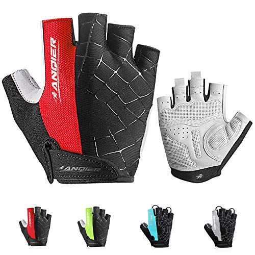 coskefy Fahrrad Handschuhe Herren Fitness Handschuhe Damen Halbfinger Gepolstert Atmungsaktive rutschfest Mountainbike Radsporthandschuhe(Rot2,XL)