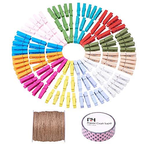 PandaHall Elite 120 Stück Gefärbt Einfarbig Holz Handwerk Pegs Clips, Foto Papier Peg Pin Graft Clips mit Tan Farbe Hanf Cord und Dekorative Klebebänder, Mischfarbe -
