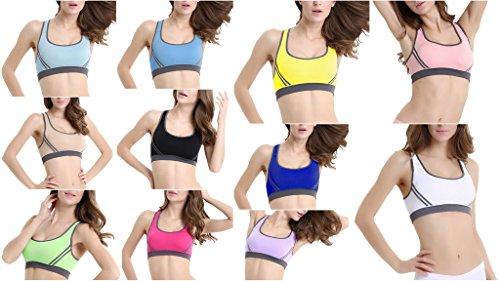 Smile YKK Brassière Running Femme Soutien-gorge de Sport Bra Push Up Yoga Crop Dos Croisé Eté Bleu