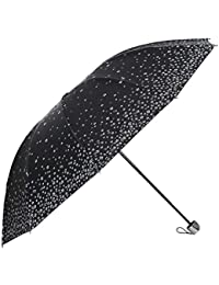 Umbrella Mart 3 Fold Digital Printed Rain Sun & UV Rays Protective Umbrella (Black/Multi)