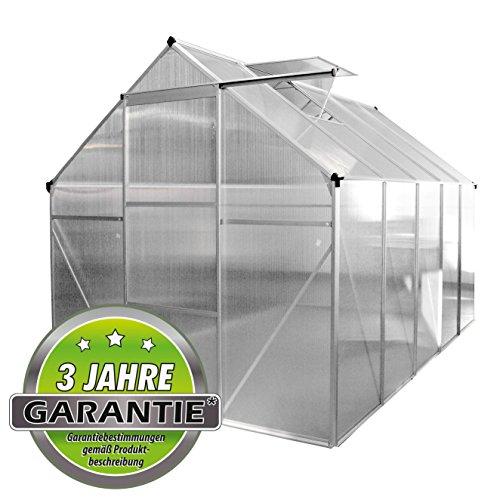 ALU Gewächshaus 4,75 m² 5,9m² Garten Treibhaus Frühbeet Fenster und Dachrinne Bodenrahmen (ohne Bodenrahmen, 4.75 m²)