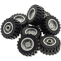 Lego®  6 Reifen 24x14 mit Felge in alt hellgrau 30648 30285c02 gebraucht