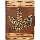 A Little Present Marihuana Dekoration Vintage Leder Geldbörse (Hardcover mit Flip Ständer und Schloss für Apple iPad Air 2und Air, braun
