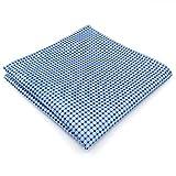 S&W SHLAX&WING Designer Einstecktuch aus Seide in hellblau mit blau weißen Quadraten