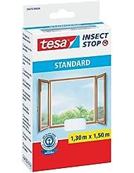 tesa Fliegengitter für Fenster, Standard Qualität, weiß, leichter Sichtschutz (1,3m:1,5m / 2er Pack, weiß)