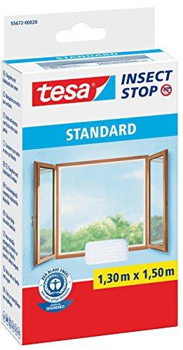tesa® Insect Stop Fliegengitter STANDARD für Fenster, leichter Sichtschutz (1,30 m x 1,50 m / 4er Pack, weiß)