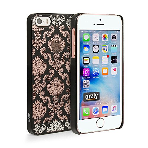 Orzly® - Orzly Art per iPhone SE - Black Lace Trim - Custodia / Cover per la protezione di iPhone 5 / iPhone 5S / iPhone SE