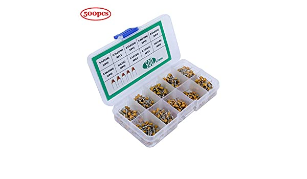 WiMas 1200 St/ücke 24 Werte Keramikkondensator DIP Monolithische Multilayer Keramik Chip Kondensatoren Sortiment Box Kit Bereich 10PF-10uf