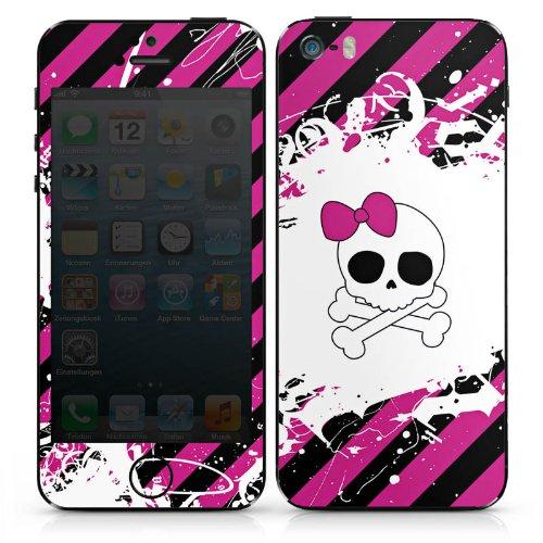 Apple iPhone 4 Case Skin Sticker aus Vinyl-Folie Aufkleber Punk Rock Prinzessin Pink Totenkopf DesignSkins® glänzend