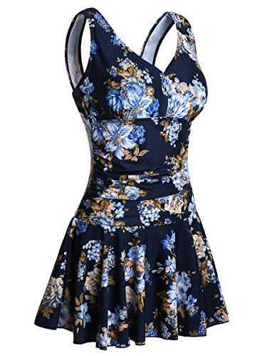 Summer Mae Maillot de Bain Robe Femme 1 Pièce Jupette Grande Taille Imprimé Fleur Moulant Bleu Marine Imprimé 1 EU 42-44