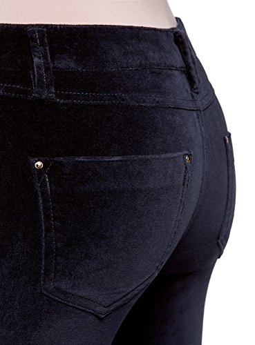 oodji Ultra Damen Enge Hose aus Samtigem Stoff Blau (7900N)