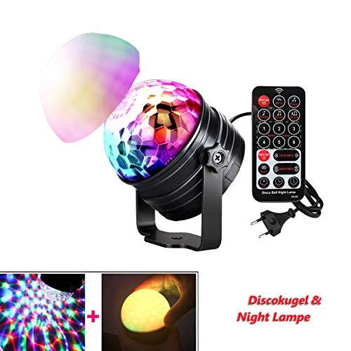 NAKALUS Discokugel LED Discolicht Party Beleuchtung Nachtlicht 7 Farbe Bmodes Lichteffekte für Weihnachten Kinder Geburtstag Schlafzimmer