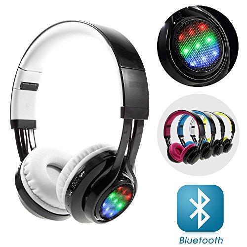 Lemonda LED Bluetooth Kopfhörer, die Unterstützung von AUX-In / Mic / TF-Karte, Over-Ear-Kopfhörer, Geräuschunterdrückung, integrierte Mikrofon, Kopfhörer für PC/ Smart Phone/ Iphone6/ Ipad/ Samsung/ PSP/ iPod/ MP6-Player/ Android?Weiss?