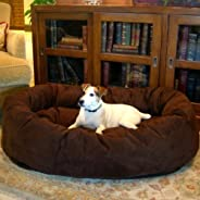 SLATTERS BE ROYAL STORE Round Shape Reversible Dual Ultra Soft Ethnic Velvet Bed for Dog and Cat (Brown, XXL)