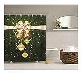 Aeici Duschvorhang Weihnachtsglocke Badewannenvorhang Dachschräge Polyester Bad Vorhang Grün Weiß 165X200Cm