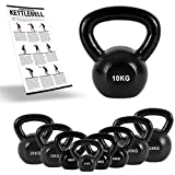 MSPORTS Kettlebell Professional Iron 2 – 30 kg inkl. Übungsposter