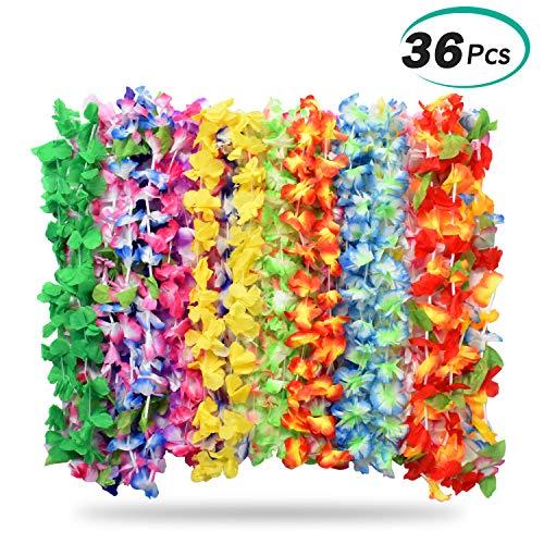 Halskette, 36 Stücke Tropische Hawaiian Luau Blume Lei Garland Hawaiian Halskette Set für Luau Sommer Beach Party Dekorationen Gefälligkeiten ()