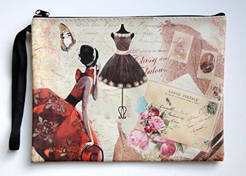 Vintage French Lady Pouch Makeup Brushes Pencil Case Ladies Fashion