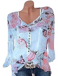 Bluse Damen Langarm V-Ausschnitt, Bekleidung Damen Lange Tops T-Shirts Bluse  Langarm Herbst Floral Bedruckt Knopf Chiffon… b31522aa2c