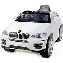 BMW X6 White, Los niños del coche, los niños del coche eléctrico, coche niños, con asiento de cuero cosido, 2x motor, batería de 12 V, 2,4 GHz Bluetooth mando a distancia, arranque progresivo