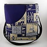 Umhängetasche Schultertasche Ankertasche mit Reissverschluss maritim marineblau wandelbar zum Rucksack- AHOI -