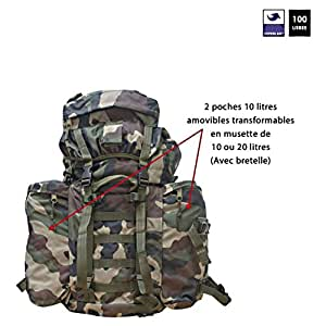 Ares - Sac à dos 100 L Ripstop camouflage