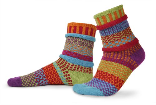 Solmate Socks - Odd or Mismatched Crew Socks for Women or for Men, Made with Recycled Cotton Yarns in USA, Cosmos Medium