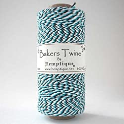 Hemptique 125 m/2 bobina de hilo de algodón cordón de pastelero de fuerza media, azul claro/oscuro