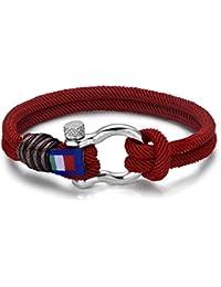 Italienisches Herren Armband in rot. Marine Thema, mt Seil. Luca Barra DBA888. Wasser Sport, Mode, Stil, Schmuck Geschenk