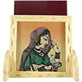 Ganga Craft House Handmade Painting Gemstone Wood Mobile Stand