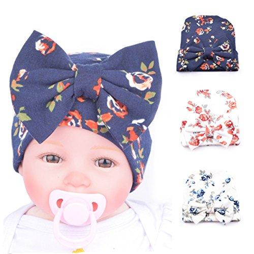 Ever Fairy 3pcs Neugeborenes Mützen mit großen Schleife für 0-3 Monat Baby – 3 Farbe C, One size
