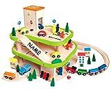 Auto Garage / Parkhaus aus Holz - mit 3 Ebenen mit Name - incl. Auto + Figuren - passend mit Schienensystem - Autos - paßt zu Allen gängigen Schienen - Holzei..