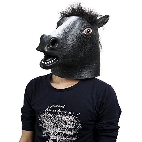 Kostüme Für Kinder Pferd Halloween (Pferdmaske,Latex Tiermaske Pferdekopf Pferdemaske Pferd Kostüm für Halloween Weihnachten Party Dekoration (Schwarz)