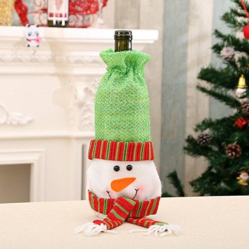 HOMEE Weihnachtsschmuck Weihnachten Weinflasche Abdeckung Wein Flasche Tasche Champagner Wein Tasche Drei,B,30cm * 15cm Dekorative Schreibtisch-matte