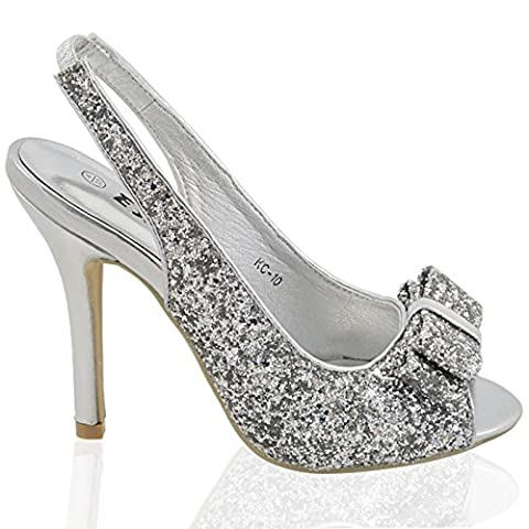 WOMENS STILETTO HIGH HEEL SPARKLY LADIES SLINGBACK BRIDAL PROM SANDALS