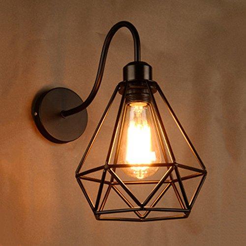 NIUYAO Wandleuchten Wandlampe Loft Stil Schmiedeeisen Diamant Form Metallkäfig Rahmen Vintage Retro Industrie Wände Leuchten-Schwarz