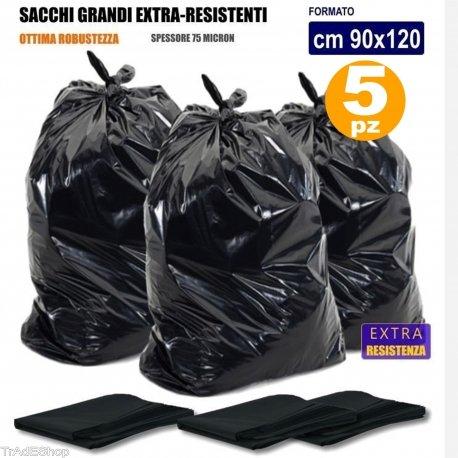 TradeShopTraesio - 5 SACCHI SPAZZATURA SENZA MANIGLIE NERI 90 x 120 CM 150 LITRI SUPER RESISTENTI