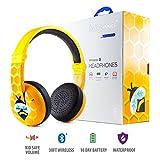 Kabellose Bluetooth Kopfhörer für Kinder - BuddyPhones Wave | Verstellbare Lautstärkebegrenzung zu 75, 85, 94 dB | Faltbar & Wasserfest | 24h Batterielaufzeit | Optionales Kabel zum Mithören | Gelb