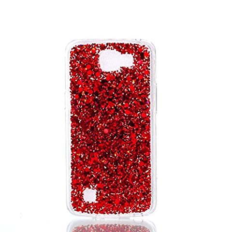 MUTOUREN LG K4 Case - Glitter Bling Flexible TPU Gel Rubber Soft Skin Silicone Clear Cover Ultra [Slim Thin] [Shiny Design] Bumper Protective Case Cover with Dust Plug - red