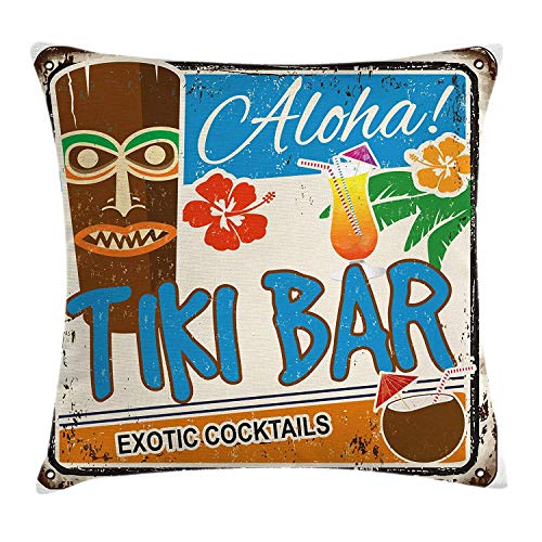 w Cushion Cover, Rusty Vintage Sign Aloha Exotic Cocktails and Coconut Drink Antique Nostalgic, Decorative Square Accent Pillow Case, Multicolor, 18 X 18 Inches ()