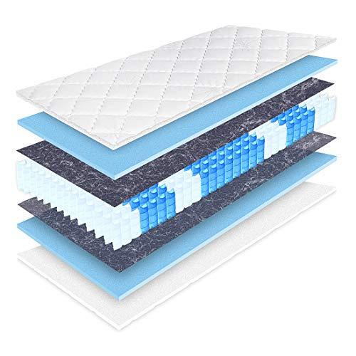 Matratzen Perfekt 20 cm hohe orthopädische 7-Zonen Taschenfederkernmatratze Köln Bezug waschbar (180 x 200 cm, H3)