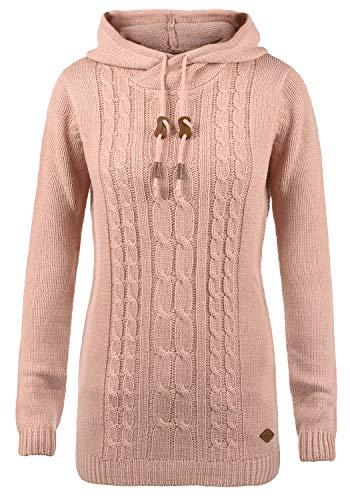 DESIRES Cable Damen Winter Strickpullover Troyer Grobstrick Pullover mit Kapuze, Größe:L, Farbe:Mahog. Rose (4203)