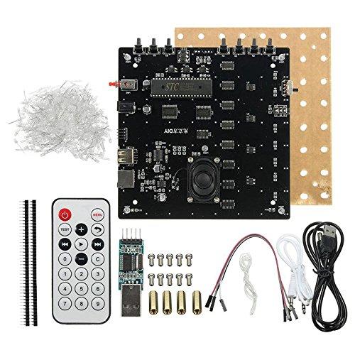 TOOGOO 3D Quadrat 8x8x8 LED Blau Licht Cube MP3 Musik Spektrum Platine DIY Kit