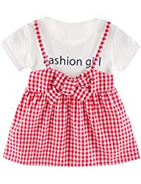 Sayla Ropa Bebe NiñA NiñO Verano Camisetas Conjuntos Moda Chica Vestido Fiesta Princesa Manga Corta con