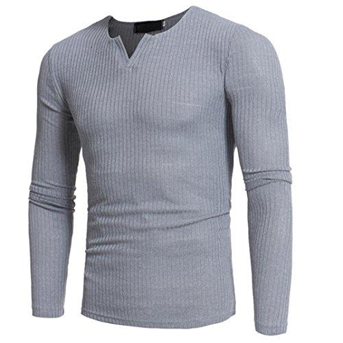 ninasill Herren Herbst und Winter Casual V-Ausschnitt Slim Pullover Tops Bluse Grau Grau Medium