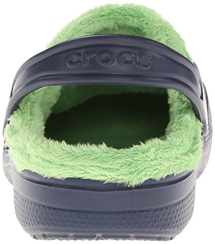 Crocs - - Unisex Enfant Baya Fleece Clog Kids Shoes Navy/Lime Green