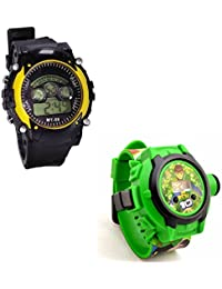 Shanti Enterprises Combo Ben 10 24 Images Projector Watch And Sports Watch Multi Color Dial For Kids