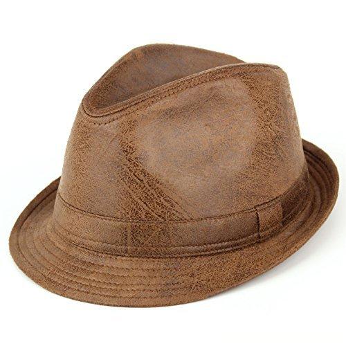 Chapeau mou craquage cuir délavé effet vintage gris apparence usé