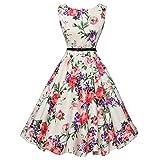 Kleid DELLIN Frauen Vintage Floral Bodycon Sleeveless beiläufiges Abend-Partei-Abschlussball-Schwingen-Kleid (S, Weiß)